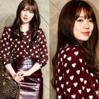 ユンウネスタイル☆韓国女優ユンウネが着用したハートPatternの可愛いブラウス