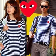 COMME des G***st.ストライプハートつきポイントTシャツ