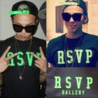 《EMS送料無料=3営業日到着》Alive Tour in LA BIGBANG Backstage photos G-Dragon私服 RSVPプリントt-シャツ