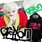 ★当日発送★ 【EMS送料無料=3営業日到着】クレヨン【crayon】G-Dragonのソロアルバムタイトル曲*クレヨン蛍光ロゴプリンティングパーカ