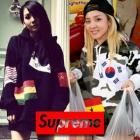 2ne1のCL・サンダラ、EXO、SNSDなど多くのスターが着用!Supreme(シュプリーム)st.パーカーFlag Pullover