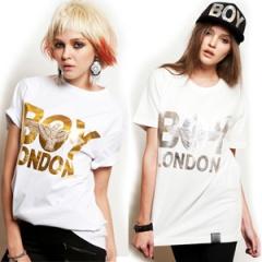 ★当日発送★ 《EMS送料韓国人気ブランド★最近人気を集めているストリートファッションブランドBOY LONDON st.Silver or Gold printing Eagle Boy half T-shirt
