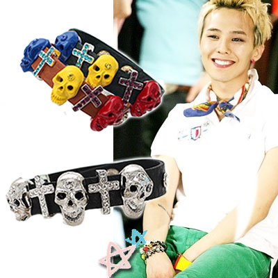 BIGBANG*G-dragon,INFINITEスタイル☆G-dragonとINFINITEメンバーが着用したレザースカルBracelet
