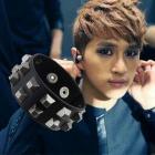 VIXX Style ★VIXXのKenが着用したブラックレザーSTUD Bracelet