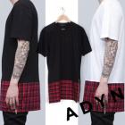 《EMS送料無料=3営業日到着》ADYN(エーディーワイエヌ)風チェックロングファスナー半袖Tシャツ(2color)レイヤードしやすいアイテム