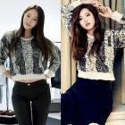 韓国人気アイドルF(X)クリスタル・韓国女優ゴ・アラ着用イロ風ツートンニットTシャツ#韓国ファッション