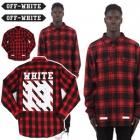 《EMS送料無料=3営業日到着》B系ファッション通販 海外人気ストリートファッションオフホワイト(OFF-WHITE)風チェック13ポイントロングシャツ