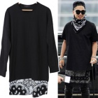 BIGBANGのSOLスタイル|RV風Bandanaレイヤード配色ポイントバンダナ長袖T-shirt(2color・男女兼用)