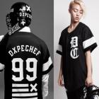 《EMS送料無料》舞台衣装・B系ファッション通販|D*PE風配色ラインポイントジャージ半袖Tシャツ(男女兼用)
