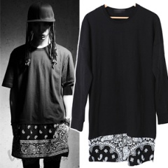 《EMS送料無料》BIGBANGのSOLスタイル RV風Bandanaレイヤード配色ポイントバンダナ長袖T-shirt(2color・男女兼用)