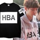 海外セレブ・韓国人気アイドル着用スタイルH*A風ボックスロゴープリンティング半袖Tシャツ(3Color・男女兼用)