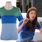 [再入荷!]最新の韓国人気ドラマファッション通販『星から来たあなた』チョンジヒョン着用スタイルサンコム半袖ニットTシャツ(2color)