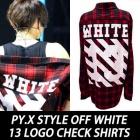 世界の人気ストリートファッション/EXO STYLE/PY.X STYLE OFF WHITE 13 LOGO CHECK SHIRTS (男女兼用・3color)