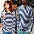 ユン・ウネ、セレブーファッション Comm* des g*rcons st. ストライプミニワッペンロング T-シャツ(男女兼用)