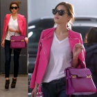 《EMS送料無料=3営業日到着》大人気のドラマ「星から来たあなた」のヒロインチョンジヒョン着用style~!thom*s w style pink leather jacket