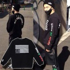 BIGBANGのテヤン(SOL)ファッション|BLACK SC*LE st. ALL AMERICAN 星条旗トレーナー(起毛)