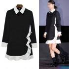 ◆35%ゲリラ割引◆韓国の人気女優シン·ミナ着用スタイル〜!ラブリーシンプル☆ブラック&ホワイトラッフルスタイルのワンピ-ス☆