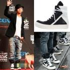 [35%ゲリラ割引]2NE1,BIGBANG愛用私服アイテムリックオーウェン@.stモノクローム ハイトップ(Black&White)