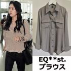 韓国の人気女優ハン·ガイン、ムン·チェウォン、シン·ミナfashion style!EQUIP M**style GRAY ブラウス