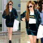 少女時代 SNSD ティファニー空港ファッションstyle!ベルベットスウェットジャケット&スカート上下セット