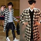 《EMS送料無料=3営業日到着》チャン・グンソク空港ファッションstyle!グンちゃんのオシャレなハウンドトゥースチェックコート