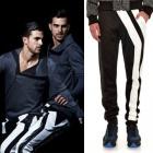 [綿·ポリエステル素材]人気ストリートファッション|アンバランなホワイトラインがユニークなアイテム☆ジョーガパンツst.Trouser