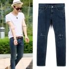 《EMS送料無料=3営業日到着》G-DRAGONや海外セレブに人気!ひざ部分の一形のディスクロイドがポイント!ディストロイド デニムジーン/Deep blue destroyed jeans