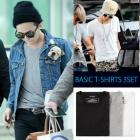ファッショニスタ BIGBANGのG-DRAGON ファッション必須アイテム!Luxury ベーシックラウンド半袖Tシャツ3枚 PACK (BLACK,GREY,WHITE)