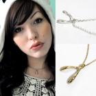 海外セレブスタイルファッションアクセサリー☆925Silver素材願い叶う Wishbone Necklace(2size/2color)