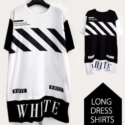 *人気ストリートブランド@FF STYLE 斜線ロングドレス半袖シャツ/DIAGONAL LINE LONG DRESS SHIRTS