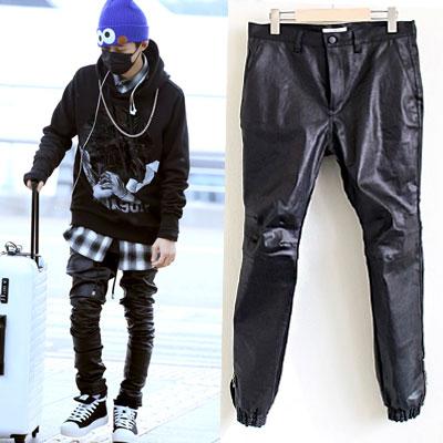 *人気急上昇中のYGの新聖グループiKONのメンバーギムハンビン空港ファッションスタイル!コーティングバイカージョガーパンツ