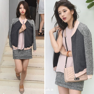 MISS Aスジ/少女時代ティファニーファッションスタイル!ヘリンボーンチェック配色 ジャケット+スカート2点セット