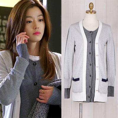 韓国人気ドラマ【星から来たあなた】ヒロインチョン・ジヒョンが着用したレイヤード風グレーカーディガン