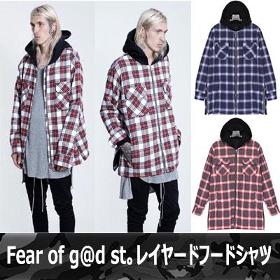 世界的なファッショ二スターに大注目☆!重ね着できるFear of g@d st.フードシャツレイヤーフードシャツ