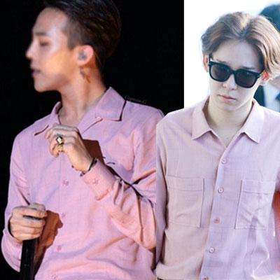 ファッションリーダーG-DRAGON、WINNERのミノ&テヒョン愛用!ビスコースTシャツ(M,L SIZE/PINK,BLACK)