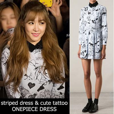 少女時代ティファニーファッションスタイル!ブルーストライプ&キュートタトゥープリントワンピース(S,M,L)