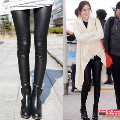 人気女優キム·テヒ空港ファッションスタイル!ジッパーレザーレギンス/Zipper Leather Leggings