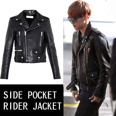 EXOチャニョル、ペッキョン、G-DragonなどのK-POP STAR STYLE!SIDE POCKET LETHER  RIDER JACKET(S,M)