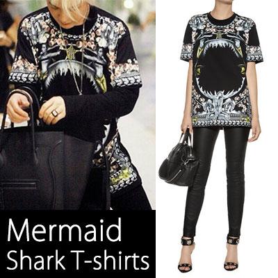 《EMS送料無料=3営業日到着》海外セレブに大人気が続いているビッグヒットアイテム!人魚サメFlower半袖Tシャツ-copy