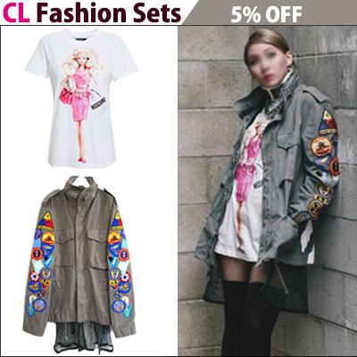 ★5%割引ネット付き★2NE1 CL STYLE完全再現コーディ!パッチホワイトロゴジャケット+バービー半袖Tシャツ