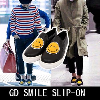 K-POPファッションアイコンG-DRAGONとファッションセレブに大ブレイク中!SMILE SLIP-ON 230~280mm/男女兼用(WHITE,BLACK)