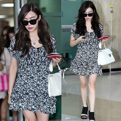 少女時代ティファニー空港ファッションスタイル!Lovely Ruffle Dress(S,M,L)