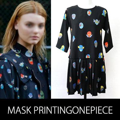 海外ファッションセレブに人気!マスクパターンONEPIECE DRESS(WHITE,BLACK)