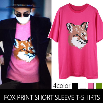 BIGBANG  G-DRAGON空港ファッションスタイル!FOX PRINT SHORT SLEEVE T-SHIRTS(4color)