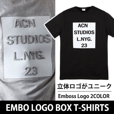 ファッションセレブとグローバルスターに愛されているACNエンボスロゴ半袖Tシャツ(WHITE,GREY)