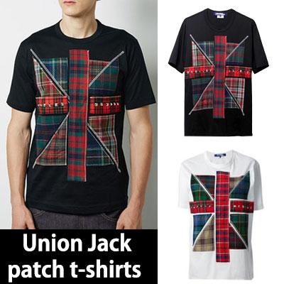 ユニオンジャックパターンパッチTシャツ(WHITE,BLACK,GREY)UNION JACK PATCH T-SHIRTS