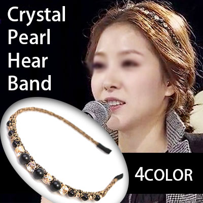 K-pop starのBOA Style!クリスタルパールヘアバンド(BLACK,IVORY,GRAY,GOLD)/Crystal Pearl Hair band