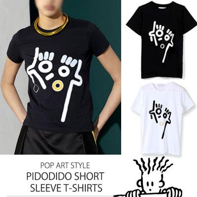 ポップアートで楽しむストリートファッションスタイルPIDODIDO半袖Tシャツ(balck,whtie)