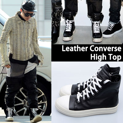 G-DRAGON FASHION STYLE!牛革レザーコンバースハイトップ/Leather Converse High Top