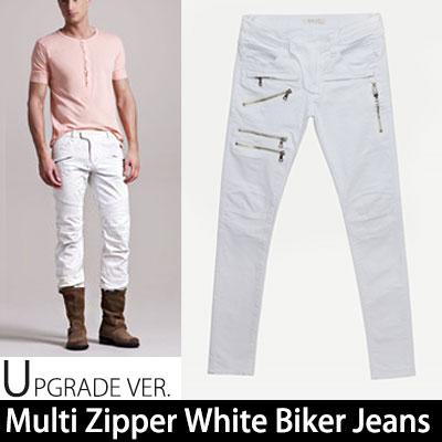 マルチジッパーホワイトバイカージーンズ/Multi Zipper White Biker Jeans(S,M,L)
